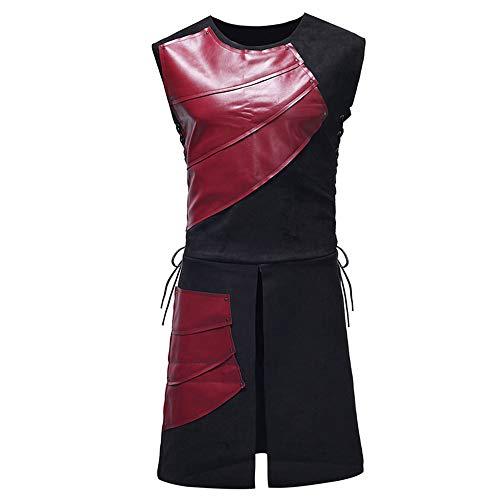 Vertvie Heren Middeleeuwse kostuum mouwloos ronde hals uitsnijding wapenrok tuniek leer patchwork vest gespoord cosplay gothic retro tops