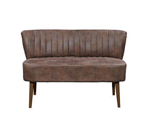 lifestyle4living Esszimmerbank mit Rückenlehne, Braun, 2-Sitzer, Vintage Look, rückenecht | Sitzbank für Esszimmer mit bequemer Polsterung - Füße Buche Massiv-Holz