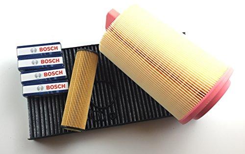 Filter Set + 4 x Zündkerze SLK R171 200 Kompressor 120 KW / 163 PS bis 11/2006