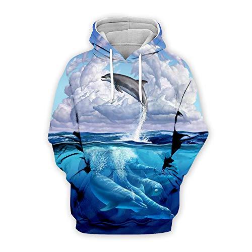 DerDer Dolphin Sudadera con capucha para hombre, impresión digital 3D, bolsillo canguro, para hombre y mujer, manga larga con capucha K11. 7XL