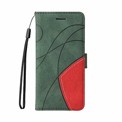 Handyhülle Kompatibel mit OPPO F7 Hülle Flip Lederhülle, Handyhülle Wallet Book Hülle PU Leder Tasche & Magnet Kartenfach Schutzhülle Handytasche für OPPO F7 Dunkelgrün