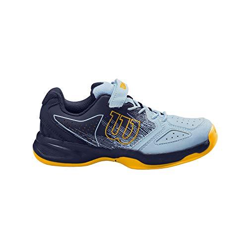 Wilson Kaos K, Zapatilla de Tenis, para Todo Tipo de Terreno, Tenistas de Cualquier Nivel para Niños, Azul Oscuro/Azul Claro/Dorado, 30 EU