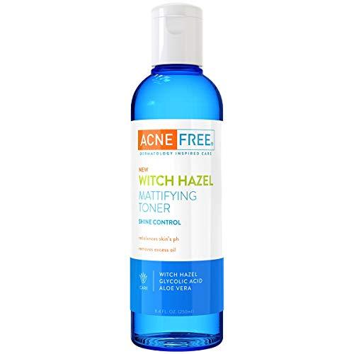 AcneFree Witch Hazel Mattifying Toner With Glycolic Acid, Aloe Vera, 8 Ounce