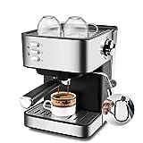 RONGJJ Cafetera Espresso, Macchina Da Caffè, Presión 15 Bares, 1,5L, Brazo Doble Salida, Vaporizador, Superficie Calientatazas, Acabados En Acero Inoxidable, 850W