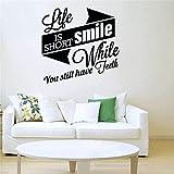 Pegatina de pared de clínica Dental, póster de baño, pegatina de vinilo para pared, decoración, sonrisa, dientes, cepillado, pegatina Dental-47x47cm
