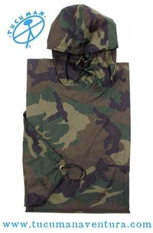 Tucuman Aventura - Poncho rip Stop Camouflage Pluie (Vert Kaki, Taille Unique)