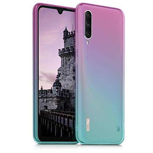kwmobile Hülle kompatibel mit Xiaomi Mi A3 / CC9e - Hülle Handy - Handyhülle Zwei Farben Pink Blau Transparent