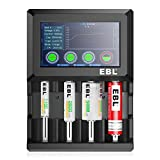 EBL Universal Battery Charger Discharger with Touching LCD Display for Rechargeable Batteries 1.2V Ni-MH Ni-Cd AA AAA C D, Li-ion 18650 16340 14500 (Batteries Not Included)