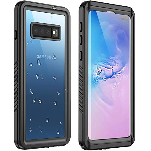 Redpepper for Galaxy S10 Plus Case Waterproof,Full Body with Built-in Screen Protector Rugged Clear Case for Samsung Galaxy S10 Plus 6.4 inch (Black/Clear)