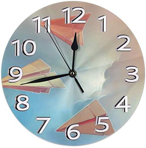 Xarchy Aviones de Papel Origami Relojes de Pared Redondos Reloj de Pared silencioso Patrón de impresión 3D Fácil de operar Ser aplicable Sala de Estar, baño, Dormitorio, Oficina