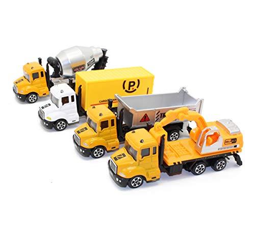 Boosns 4 Pcs Aleación Camiones de Juguete Coches Pequeños Juguete (Amarillo)