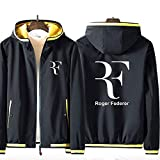 73HA73 Sudadera con Capucha y Cremallera para Tennis Grand Slam Roger Federer Jacket Deportiva Cómoda de Manga Larga Unisex (No Shirt),Black-Yellow,2XL(175-180cm)