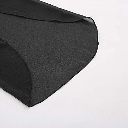 Vestido de Gasa para Mujer Vestido de de Manga Corta 3/4 Mangas Vestido de Gasa Ancho para Mujer Elegante Vino Negro 2XL CL010888-1
