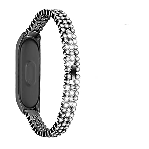 Correa de Diamante para Banda MI5 6 4 3 Pulsera de Metal de Metal (Color : A, Size : For Xiaomi Band 3)