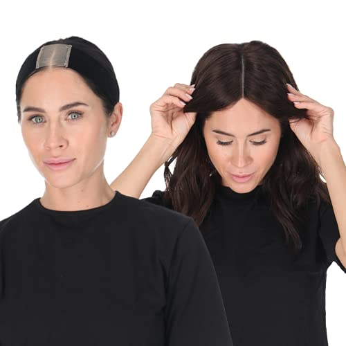 Madison Headwear Lace Wig Grip Band - Adjustable To Custom Fit Your Head - Velvet Comfort - Non Slip Breathable Lightweight Material For All Day Wear! Keep Wig Comfortably Secured (Black)