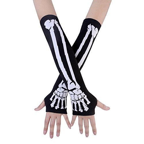 JISEN Women Punk Winter Arm Warmer Knitted Stretchy Soft Fingerless Gloves White Skeleton