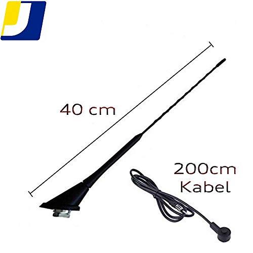 Jurmann Trade GmbH Antena de coche de 40 cm con cable de conexión de 120 cm, antena de varilla DIN para recepción de FM AM