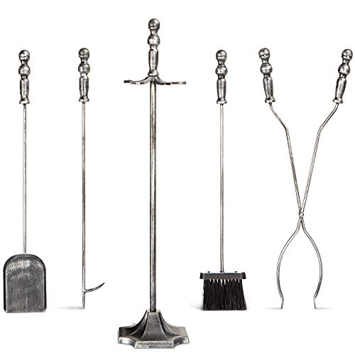 Best Choice Products 5-Piece Rustic Indoor Outdoor Fireplace Hearth Wrought Iron Fire Wood Tool Set w/Tongs, Poker, Broom, Shovel, Stand - Pewter