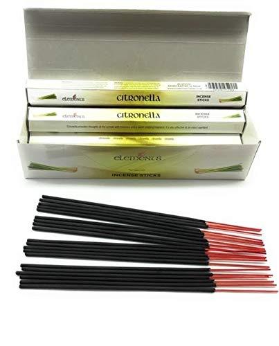 Elements Citronella - Caja de incienso (120 varillas de incienso (6 paquetes cada uno contiene 20...