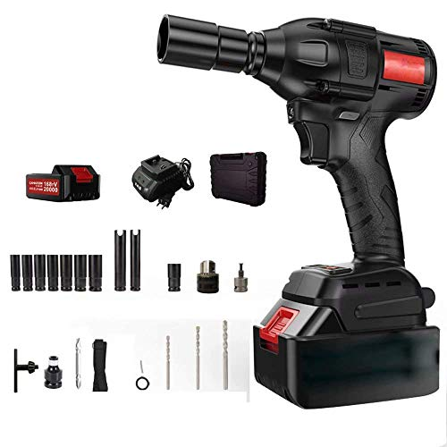 QTCD Car Impact Wrench 128TV20000,320N.m Electric Portable Brushless Impact Wrench Kit Scaffolding Scope, Tire Removal, Mechanical Installation