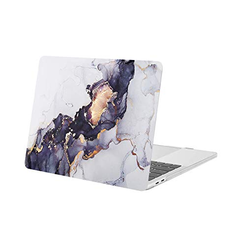 MOSISO Compatible with MacBook Pro 13 inch Case 2016-2020 Release A2338 M1 A2289 A2251 A2159 A1989 A1706 A1708, Plastic Pattern Hard Shell Case, Gray Black Marble