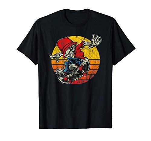 80er Jahre Retro Skull Bones Skateboard Sonnenuntergang T-Shirt