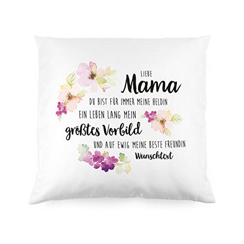 Herz & Heim® Muttertags-Kissen mit Gratis Aufdruck - Liebe Mama Mein größtes Vorbild - Super Muttertagsgeschenke