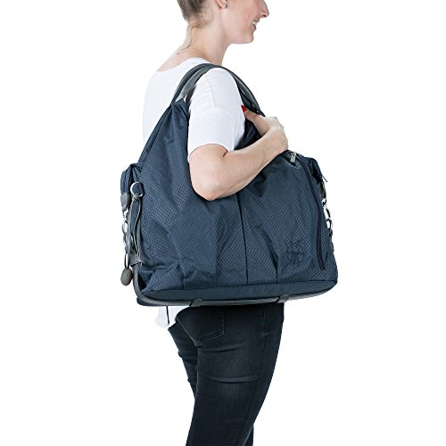 Lässig Baby Nappy Changing Bag Diaper Bag with Accessories/Green Label Spin Neckline Bag, Blue Mélange