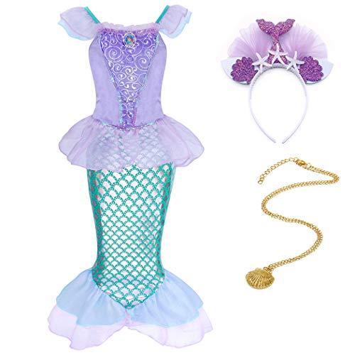 WonderBabe Disfraz de sirena para niña, vestido de sirena, cumpleaños, boda, juego de rol temático, fiesta, festival, carnaval, Navidad Green+09&27 3-4 Años