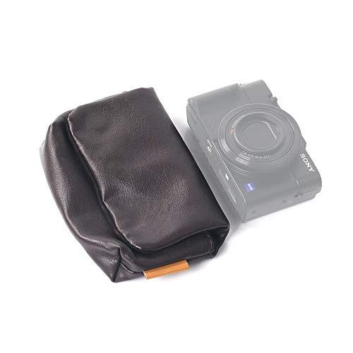 ORMY PU leder Compacte Digitale Camera Case Camera tas Binnentas Ontwerp voor SONY DSC-RX100M6 / FUJIFILM XF10 etc., DONKERBRUIN
