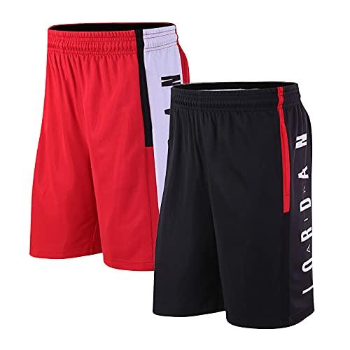 Beylore 2-Pack Pantaloncini da Basket Uomo - Casual Pantaloncini Traspirante Stretch con Tasche - Sport Pantaloncini per lallenamento Fitness in Esecuzione,Red+Black,XL