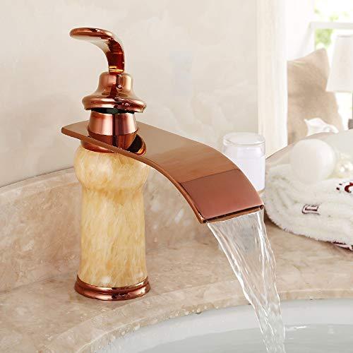Robinet en laiton lavabo chaud et froid lavabo en or rose robinet de lavabo en tissu de sablage continental robinet d'eau jade wx5041521LL (Couleur : A)