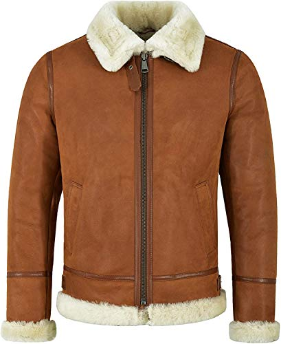 BOSCAGE Men's Traditional B3 WWII Aviator Air-Force Pilot Shearling Real Sheepskin Leather Jacket. (3XL)