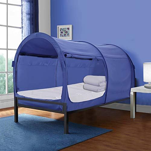 Alvantor Bed Canopy Tents Dream Privacy Space Twin Size Sleeping Tents Indoor Pop Up Portable Frame Curtains Breathable Navy Cottage (Mattress Not Included) Reducing Light