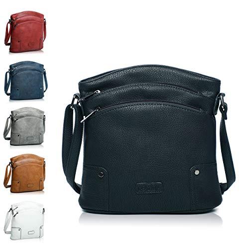 Handtasche Damen - veganes leder- Umhängetasche Schwarz, Schultertasche, kleine Tasche - 25x26x5 cm