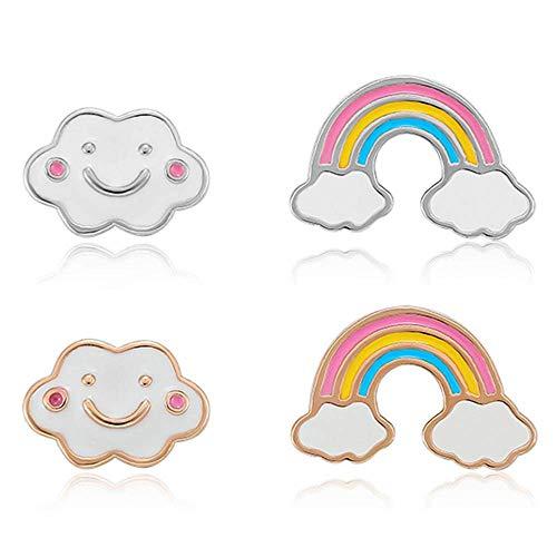 2 uds.Pendientes de botón de arcoíris de Plata de Ley 925 con Dibujos Animados de Estrella y Luna, Pendientes asimétricos para Fiestas de Chicas, joyería Fina Ramantic Bonita