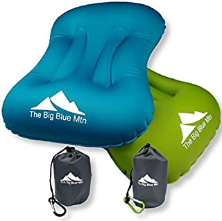 The Big Blue Mtn Ultralight Backpacking Inflatable Camping Pillow with Lightweight Compact Pouch Sack and Carabiner - Camp Hiking Summit Gear for Beach Sea Travel Hammock