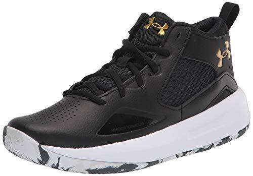 Under Armour Lockdown 5, Zapatillas de bsquetbol Unisex Adulto, Negro White Metallic Gold 003, 46 EU