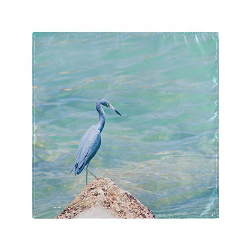 RAUP Satin Napkins Set of 6, Grey Heron Bird Azure Blue Sea,Square Printed Party & Dinner Cloth Napkins,20\