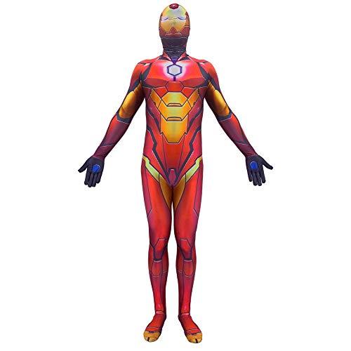 BGHKFF Iron Man Disfraz NiO Adulto Ropa Cosplay Vestido Superhroe Halloween Navidad Celebracion Traje Fiesta De Baile Medias Siamesas,Child-XXL