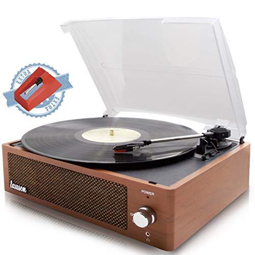 Lauson XN792 Plattenspieler Encodierung Aufnahmefunktion PC-Link   Vintage Vinyl Plattenspieler mit Bluetooth und integrierten Lautsprechern   3 Speed Vinyl Player 33, 45, 78   Eichenholz