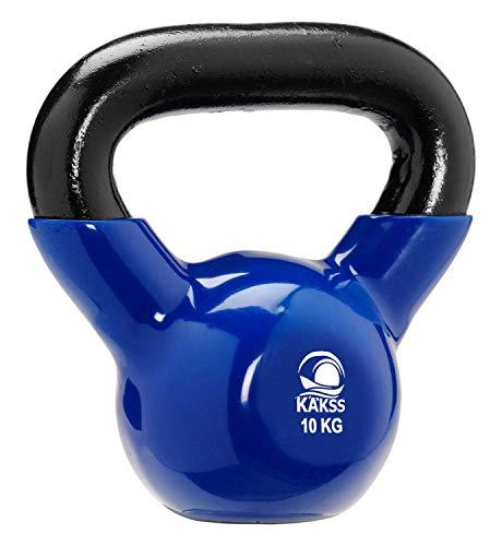 Kakss Vinyl Half Coating Kettle Bell for Gym & Workout (Size: (2KG, 4KG, 6KG, 8 KG, 10KG, 12KG) (10 KG (Blue)) (Proudly Made in India)