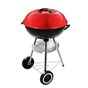 Best Goods - Barbacoa redonda de carbón vegetal, color rojo
