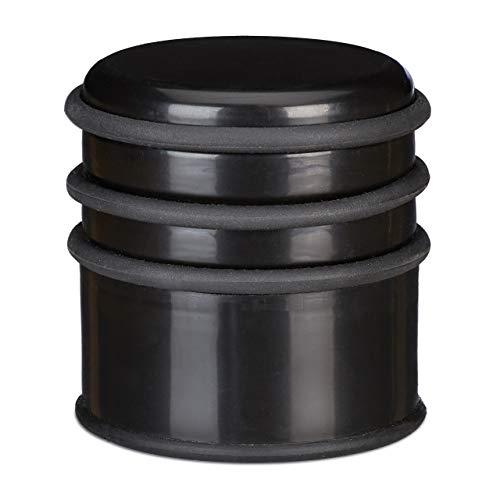 Relaxdays Türstopper für den Boden, schwerer Türpuffer, für Türen & Fenster bei Luftzug, 3 Gummiringe, ∅ 7 cm, schwarz