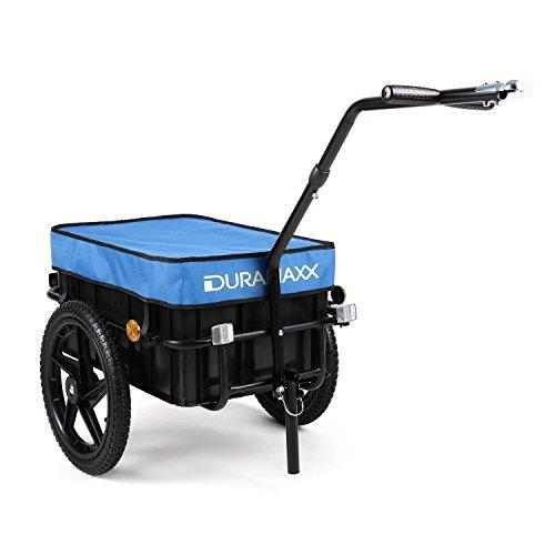 Duramaxx Big Blue Mike - Remorque pour vélo, Attelage vélo, Chariot à Main, avec Haute Barre de remorquage, Boîte de Transport avec 70 litres de Volume, Capacité de Charge: 40 kg Max, Bleu
