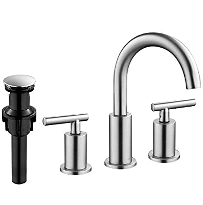 FORIOUS 2-Handle Widespread Bathroom Sink Faucet High Arc Brass 3 Holes Faucets with Pop-Up Drain, Brushed Nickel