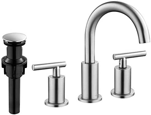FORIOUS 2 Handle Widespread Bathroom Sink Faucet High Arc Brass 3 Holes Faucets with Pop Up product image