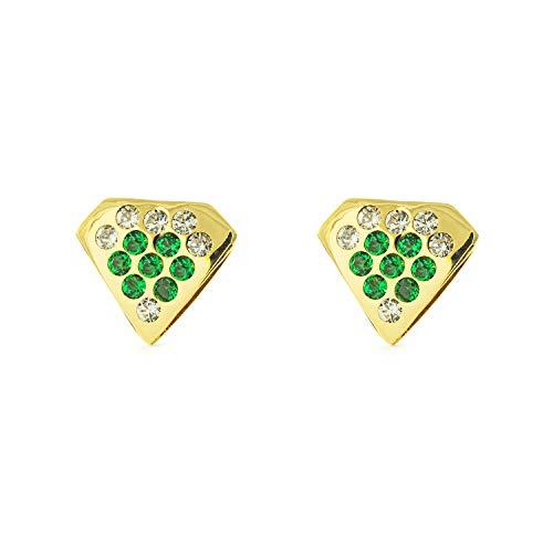 Orecchini Per Bambini Diamante Con Smeraldi - Oro Giallo 9K (375)