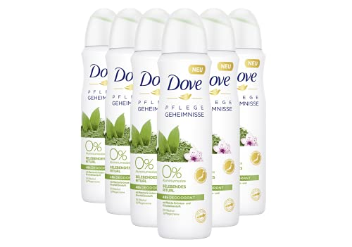 Dove Deospray 6er Pack Pflegegeheimnisse Belebendes Ritual Matcha Grüntee und Kirschblütenduft 0% (6 x 150 ml)