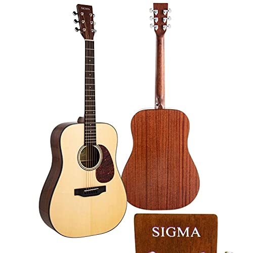 """SIGMA 41"""" Acoustic Guitar, Dreadnought, 4/4 Full-Size, Premium Name-Brand Tuner & Steel String, Solid Gloss Spruce Top, Mahogany Back/Side, Right(10D)"""